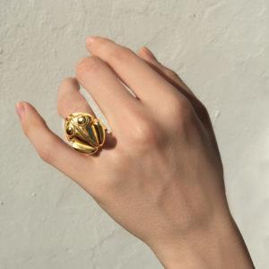 atteza rana gold ring isolated in hand